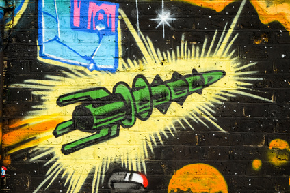 Graffiti Retro Rocket Ship, Brick Lane, London